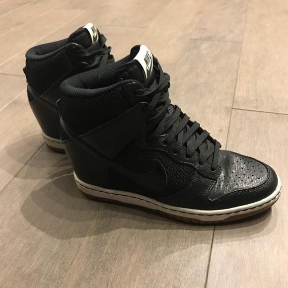Nike Shoes Dunk Sky Hi Wedge Sneakers Sz 65 Black Poshmark